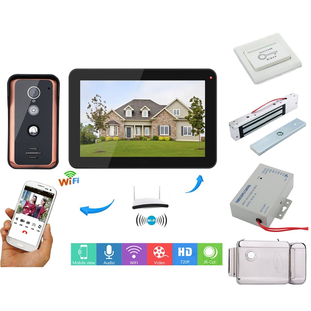 Home set 9 inch LCD Wireless Wifi IP Video Doorbell Intercom Entry System with Wired 1000TVL Wired Camera+Electric LockHome set 9 inch LCD Wireless Wifi IP Video Doorbell Intercom Entry System with Wired 1000TVL Wired Camera+Electric Lock
