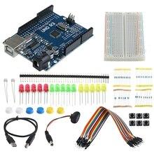цена на 1Set Starter Kit UNO R3 Mini Breadboard LED Jumper Wire Button for Arduino