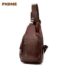 Leather cross-body bag for men with chest compartment casual multi-functional retro