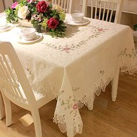 Designer Round Lace Tablecloth,Brand 100% Handmade Embroidery Table Cloth,Modern American Rustic Floral Table Cover