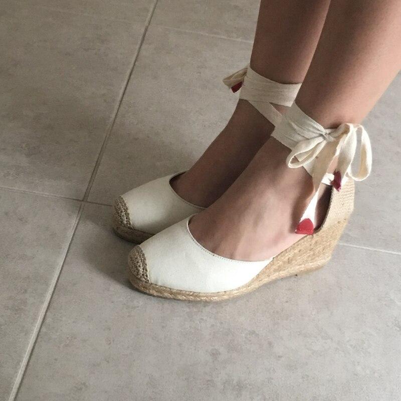 Women Ankle Strap Espadrilles Wedge Sandals 2018 Summer Canvas High Heel Fashion Lace up Women Platform Wedge Sandals Large Size (24)