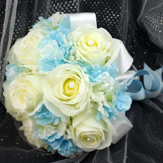 Wedding Bouquet Light Blue Off White Silk Bride Holding Flowers With High Imitation Pearls