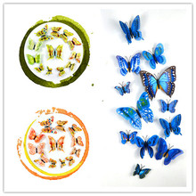 12Pcs/set New Creative Arts and Crafts Simulation Butterfly Double Layer 3D Butterfly Suit Butterfly Wall  Refrigerator Sticke цена 2017