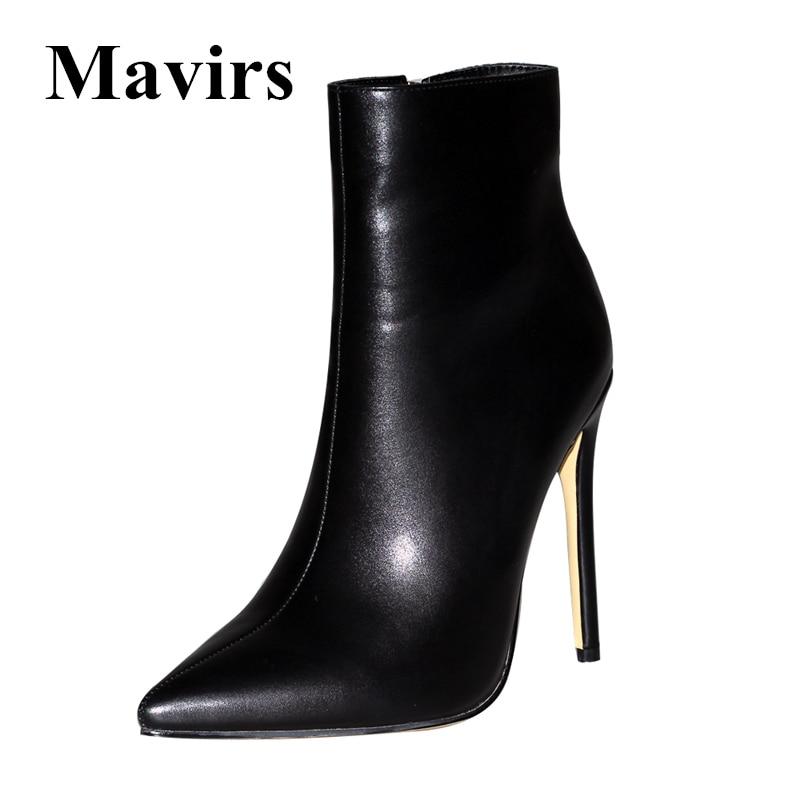 Mavirs/Брендовые женские ботильоны черного и красного цвета, 2018 г. модельные туфли на высоком каблуке шпильке 12 см с острым носком и боковой мол