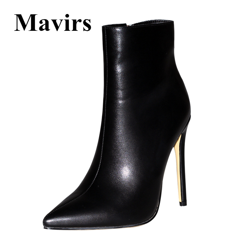 Mavirs Brand Black Red Women Ankle Boots 2018 Pointed Toe 12 CM Stilettos High Heels Side Zipper Dress Shoes US Size 5-15 mavirs brand women ankle boots 2018 pointed toe matt 4 75 inches chunky high heels black gray gold white shoes us size 5 15