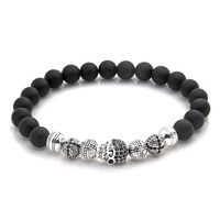 Thomas Skull Cross And Matted Obsidian Beads Elastic Bracelet 925 Silver Rebel Heart Style Jewelry Gift