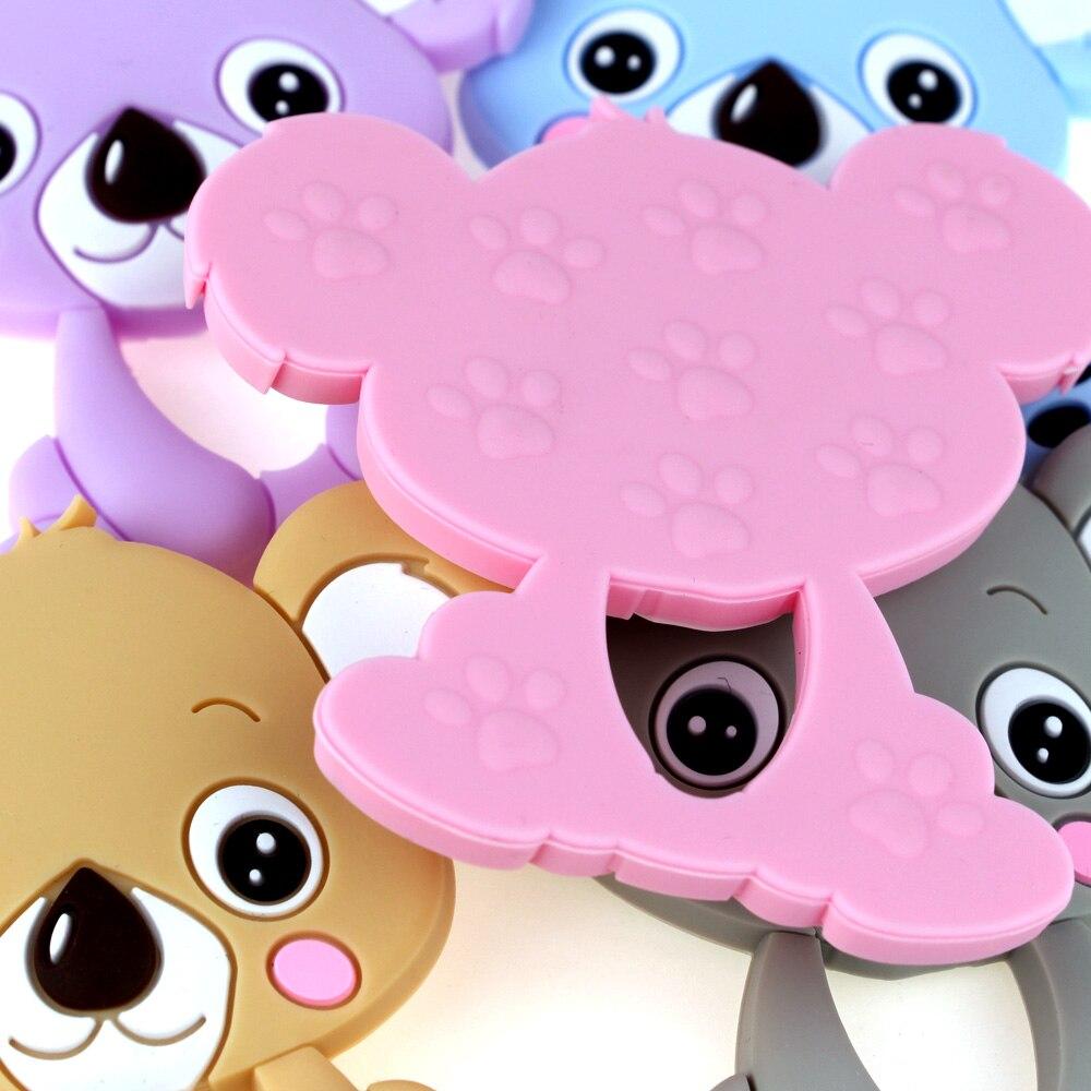 Тыры. HU 1 шт. коала ребенок силиконовый Прорезыватель Еда Класс силиконовые бусины Цепочки и ожерелья подвеска BPA бесплатно ребенка при прорезывании зубов Уход за полостью рта жевательные