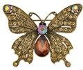 2015 винтажном стиле античное золото покрытие горный хрусталь кристалл стразами красивая бабочка брошь женщин насекомых подарки