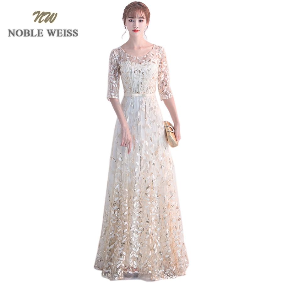 NOBLE WEISS Elegant Champagne Evening   Dress   A-Line Lace   Prom   Gowns Formal Evening Gown O-Neck   Prom     Dress   With Short Sleeves