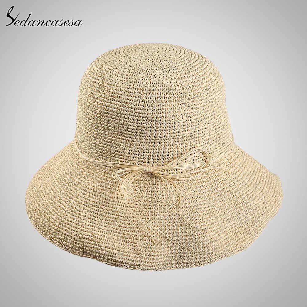 Sedancasesa słońce kapelusz kobiece lato podróży z funkcją ochrony przeciwsłonecznej składane kapelusze słomkowe dla kobiet kapelusze plażowe daszek sportowy dziewczyna gorąco na sprzedaż