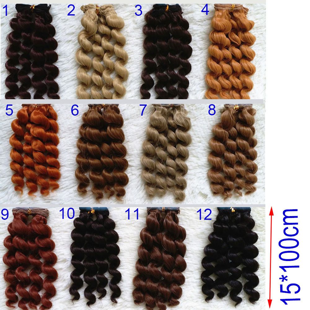 1pcs 15cm Curly DIY Doll Wig Available for BJD SD Doll Hair High-temperature Wire Fiber Wave Hair Gold Brown Coffee Khaki Wig