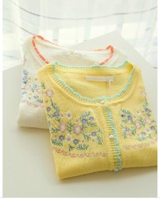 Nueva Llegada 2017 Del Otoño Ropa de Mujer Bordado Patrón de Flores Suéter Cardigan Botón de La Vendimia Blusa de Impresión de Lana de Abrigo