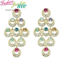 New Design  Multi Circle Rhinestone Crystal Earrings Fashion Evening Dress Jewelry For Women Free Shipping