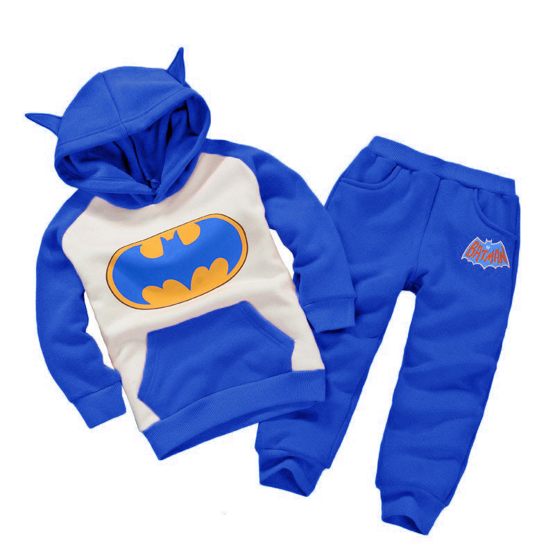 Toddler Boys Children Clothing Set 2018 Winter Baby Girls Christmas Clothes Batman Hooded+Pant Kids Sports Suit For Boys Clothes boys girls clothing set children kids sports suit for toddler jeans cotton baby child clothes 2018 outfit new spring tracksuit