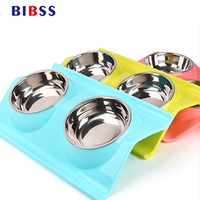 Pet Dog Bowl Cat Bowl Water Food Storage Feeder Non Toxic PP Resin Puppy Stainless Steel