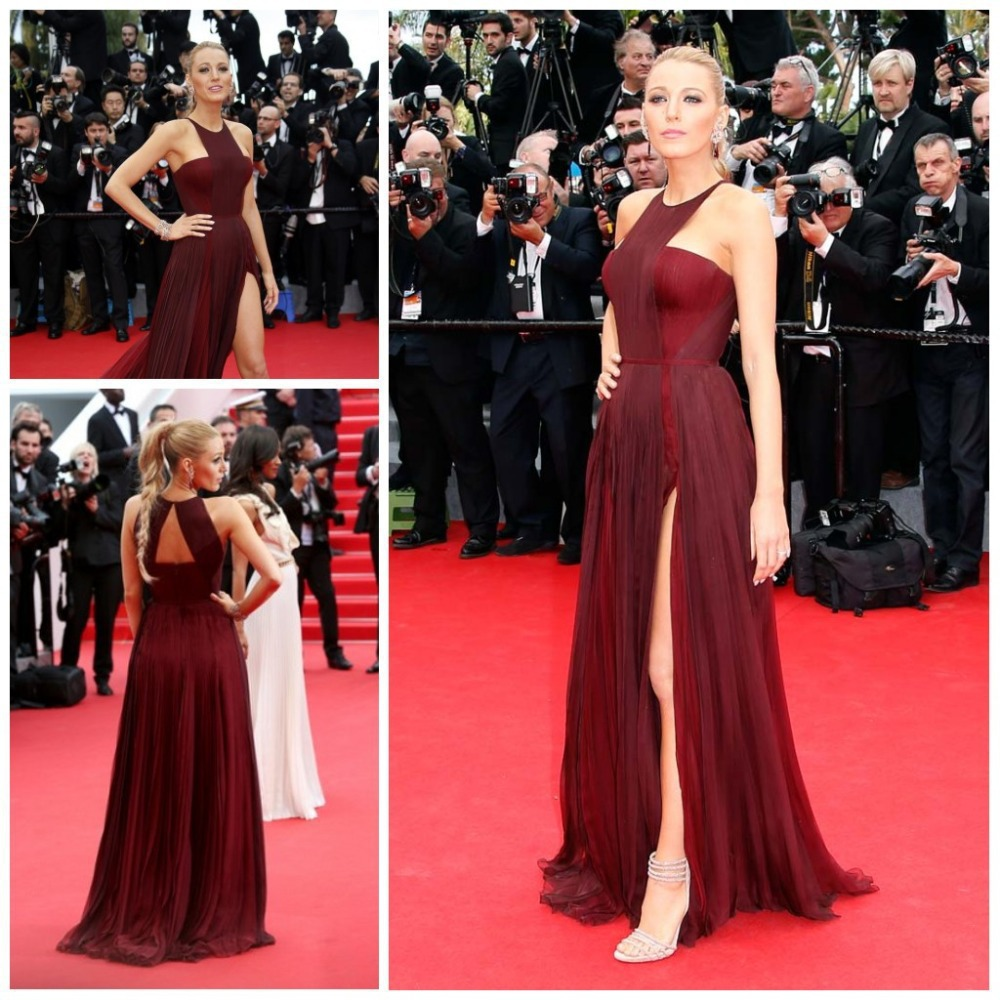 Blake Lively Red Carpet Celebrity Dresses Chiffon High Split Sexy Gossip  Girl Dark Red Chiffon Formal 7fca7bb86d72