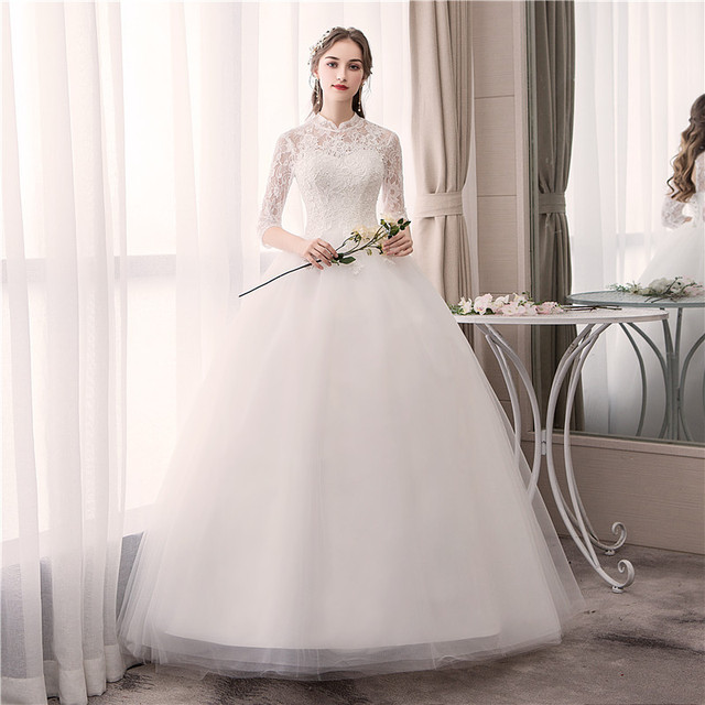EZKUNTZA ลูกไม้คอสูง 2019 ชุดแต่งงานใหม่แฟชั่น Slim เย็บปักถักร้อย Backless PLUS ขนาดที่กำหนดเองชุดเจ้าสาว Robe De mariee