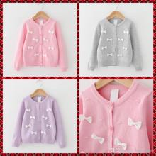 New Knitted Bow Sweater Cardigans Kids Girls Candy Color Fall Winter Jackets Outwears 5pcs/lot Wholesale