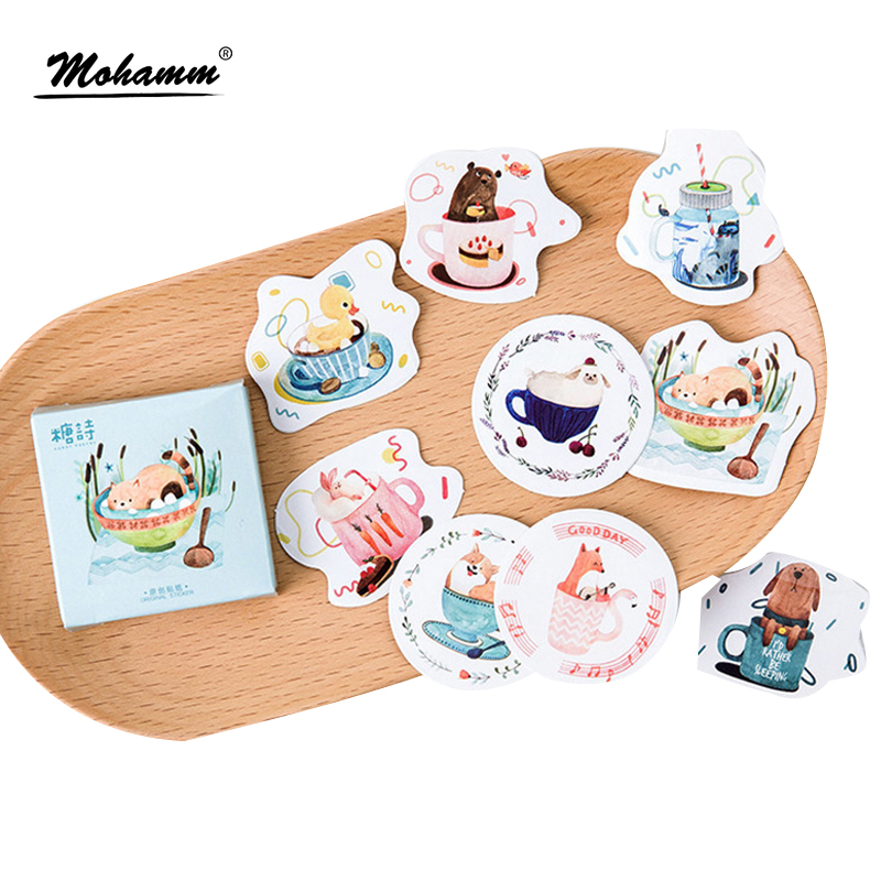 45pcs/lot Cute Cup Of Animals Diary Sticker Post it Kawaii Planner Scrapbooking Sticky Stationery Escolar School Supplies 45pcs lot cute cup of animals diary sticker post it kawaii planner scrapbooking sticky stationery escolar school supplies