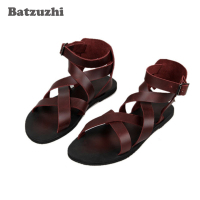 2018 Fashion Men Shoes Sandal Summer Genuine Leather Sandal Shoes Soft Comfortable Sandalias Hombre Casual Rome Gladiator Sandal