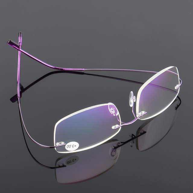 VCKA Men Ultra light Flexible Memory Titanium Frameless Women Brand Rimless Reading Glasses Diopter +1.00,+1.50,+2.00,+2.50,+3.0