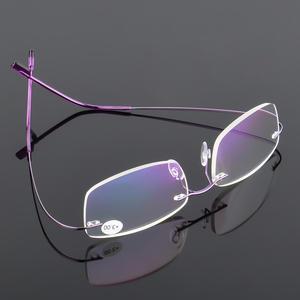 307eedb8949 VCKA Men Ultra light Flexible Memory Titanium Frameless Women Brand Rimless Reading  Glasses Diopter +1.00