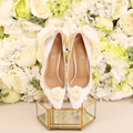 2017 spring white pearl diamond bridal shoes Pointed fine with ultra-high with a butterfly wedding shoes Women 's shoes dress sh
