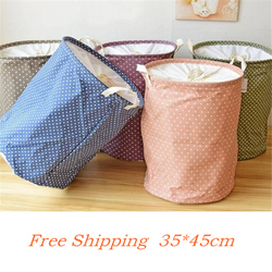 Lovely Point Basket For Toys 35*45CM Linen Laundry Basket Folding Dirty Clothes Storage Storage Basket