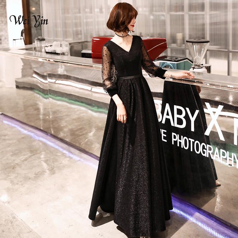 weiyin Robe De Soiree Glitter Shiny   Evening     Dress   Full Sleeves Black   Evening   Party Floor Length V Neck Formal Long   Evening     Dress