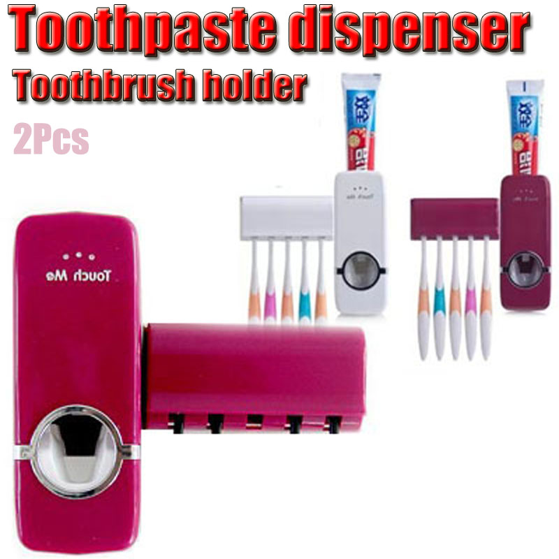 2Pcs Baby Care Grooming & Healthcare Kits Design Bathroom Amenities Automatic Toothpaste Dispenser Family Toothbrush Holder Set