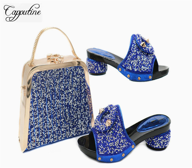 Capputine Africa Decorated With Rhinestone Woman Shoes And Bag Set Nigerian Style High Heels Shoes And Bag Set For Party G42Capputine Africa Decorated With Rhinestone Woman Shoes And Bag Set Nigerian Style High Heels Shoes And Bag Set For Party G42