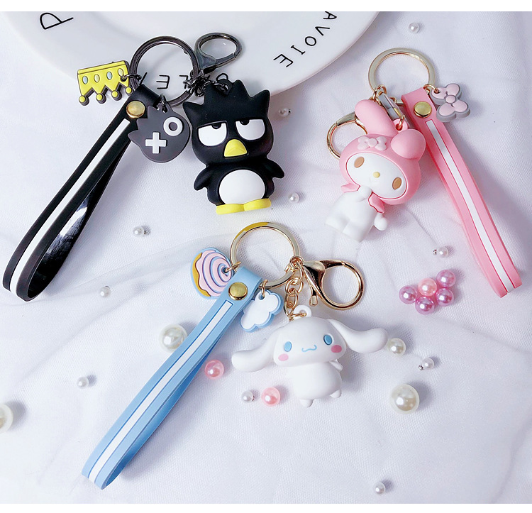 Cartoon Epoxy Pudding Dog Frog Key Chain Melody Big Ears Dog Cool Penguin Cool Lomi Key Chain Women Pendant Gift Keyring
