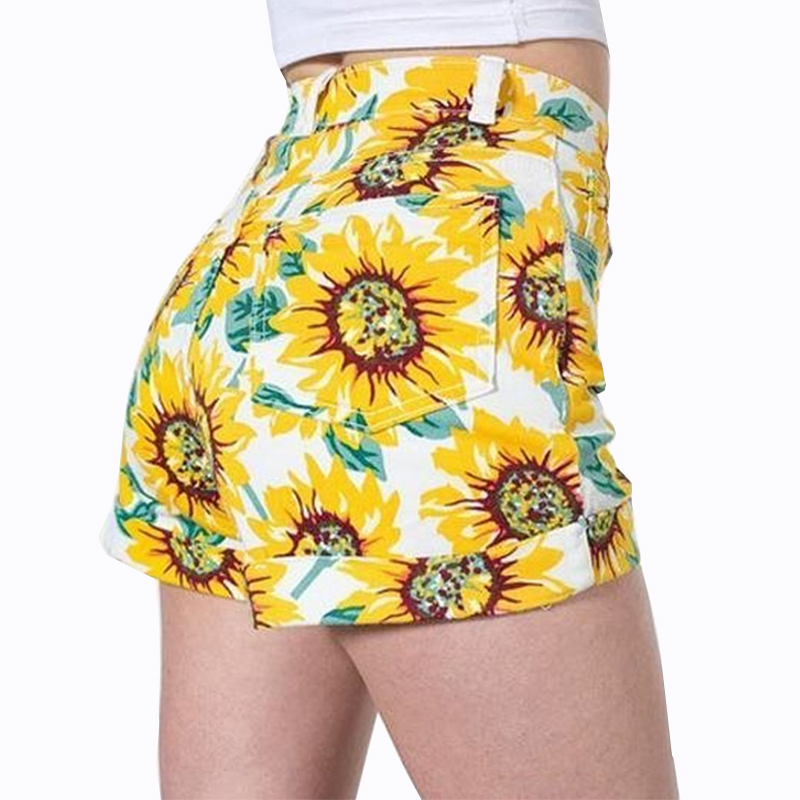 Summer Denim Shorts Women Fashion Vintage Sunflower Pattern Cotton Casual High Waisted Female Shorts Beach Style Shorts