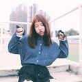 Hot nova primavera mulheres Coreano moda de todos os coincidir com os alunos listras verticais solto de mangas compridas lapela camisa para as meninas