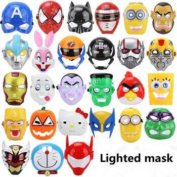 LED Glowing Superhero Cosplay Mask Spiderman Halloween Mask Deadpool Hulk Superhero Iron Man Batman Spongebob Minions Party Mask e services logo
