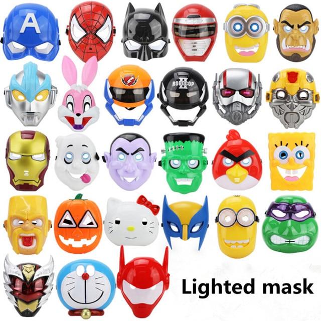 LED Glowing Superhero Cosplay Mask Spiderman Halloween Mask Deadpool ...