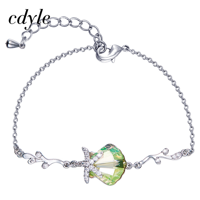 Cdyle Crystals from Swarovski Bracelets Women Bracelet Silver Color Austrian  Rhinestone Paved Chic Green Oval Bijous Copper New 9ef87b512d08