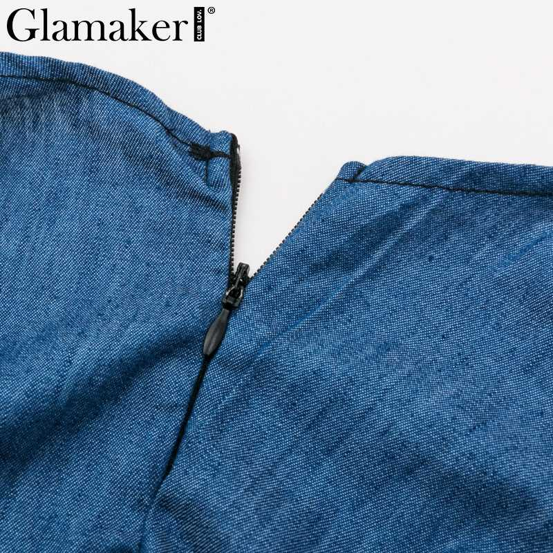 Glamaker Гофрированный Пояс бант женский комбинезон летние сексуальные комбинезоны уличная высокая талия джинсовые комбинезоны и комбинезоны