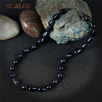 KCALOE Real Blue Sand Stone Vintage Necklace Water Drop Design Handmade Rope Chokers Necklaces For Women