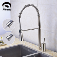 Solid Brass Nickel Brushed Pull Out Spring Kitchen Faucet Swivel Spout Vessel Sink Mixer Tap
