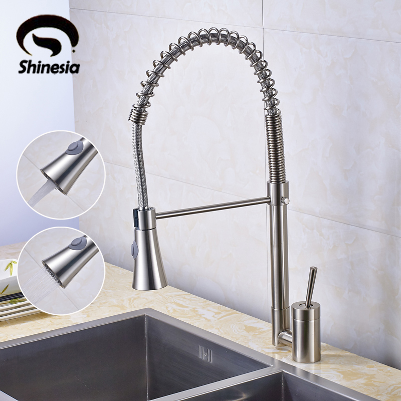 Solid Brass Nickel Brushed Pull Out Spring Kitchen Faucet Swivel Spout Vessel Sink Mixer Tap ydl f 0538 polished nickel finish solid brass spring pull out kitchen faucet antique silvery