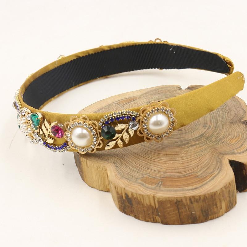 Nueva tendencia barroca de lujo terciopelo corona de cristal flor banda para  el cabello accesorios de joyería para el pelo boda fiesta Tiara perla  diadema ... 11a8e0471614