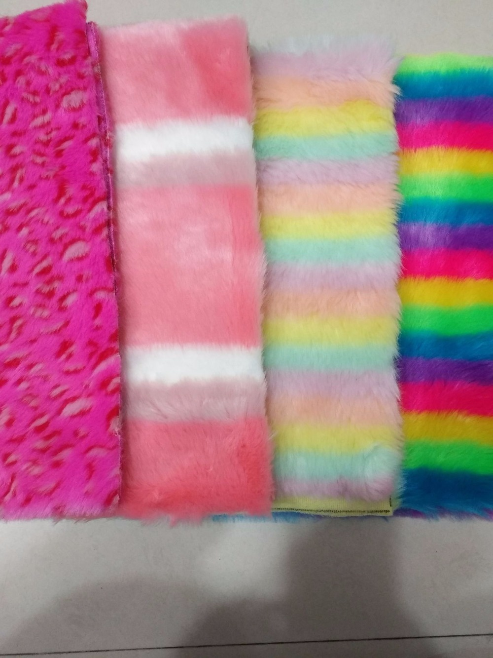 Three color strip jacquard plush Colorful Haipai rainbow faux fur Colored falling water toy fabric