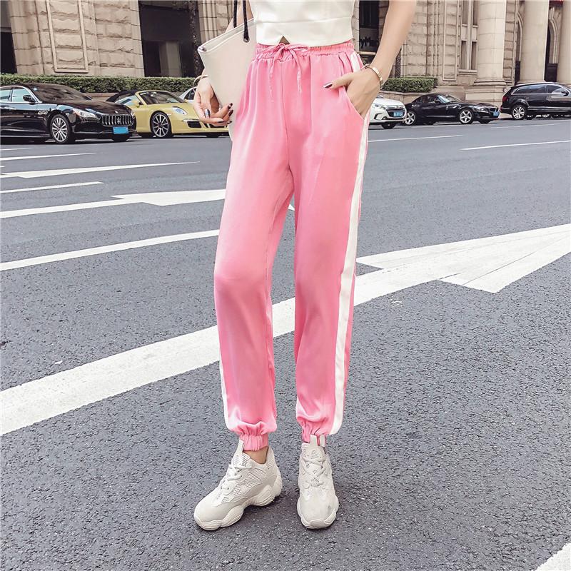 Women's Clothing New Summer Strapless Sleeveless spaghetti strap Vest crop tops+Side Stripe Harem Pants Streetwear Women's Sets 10