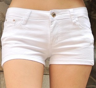 Summer white shorts female multicolour candy color elastic tight ...