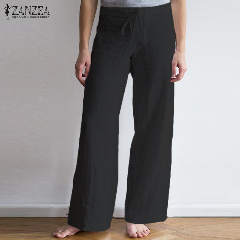 ZANZEA Plus Size Women   Wide     Leg     Pants   2019 Summer Ladies Casual Long Trousers Drawstring Solid Pockets Pantalon Femme Streetwear