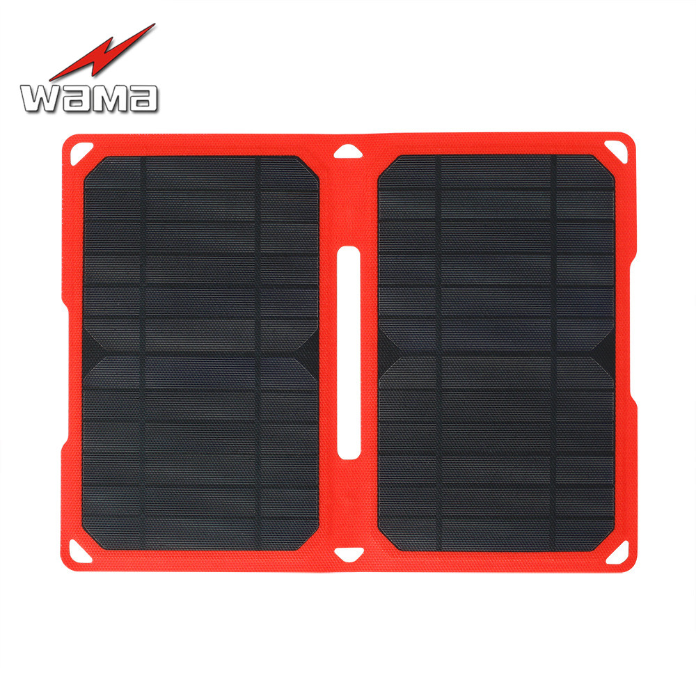 1x Wama Foldable Camouflage Charger 14W Solar Panels for Power Bank 18650 Batteries USB Outdoors IPX5 Waterproof