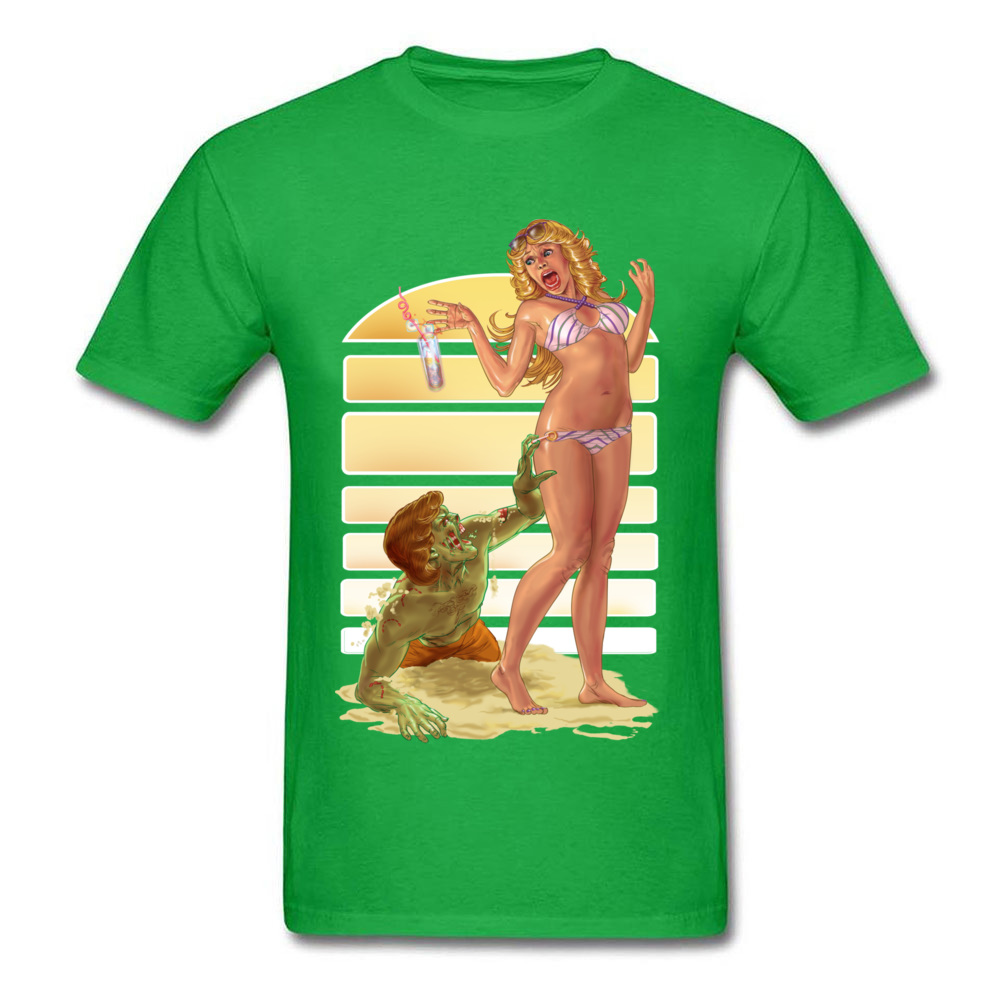 Day Of The Dead Beach Zombie Comic T Shirts Funny Picture Men's Cool T Shirt Green Pin Up Sex Tshirt For Adult Ahegao image