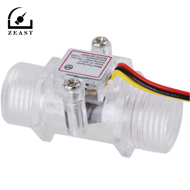 G1/2inch DN15 Transparent Water Flow Meter Flow Meter Hall Flow Sensor Indicator Counter Full Copper Water Flow Sensor