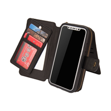 New Phone Case for iPhone X Multifunction Wallet Retro Leather Zipper Purse Pouch Flip Cover Bag with Card Holder
